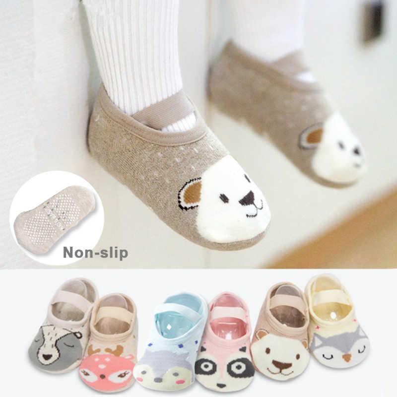 1 çift moda bebek kız erkek sevimli karikatür kaymaz pamuklu bebek kat çorap hayvan desen ilk yürüteç ayakkabı yenidoğan