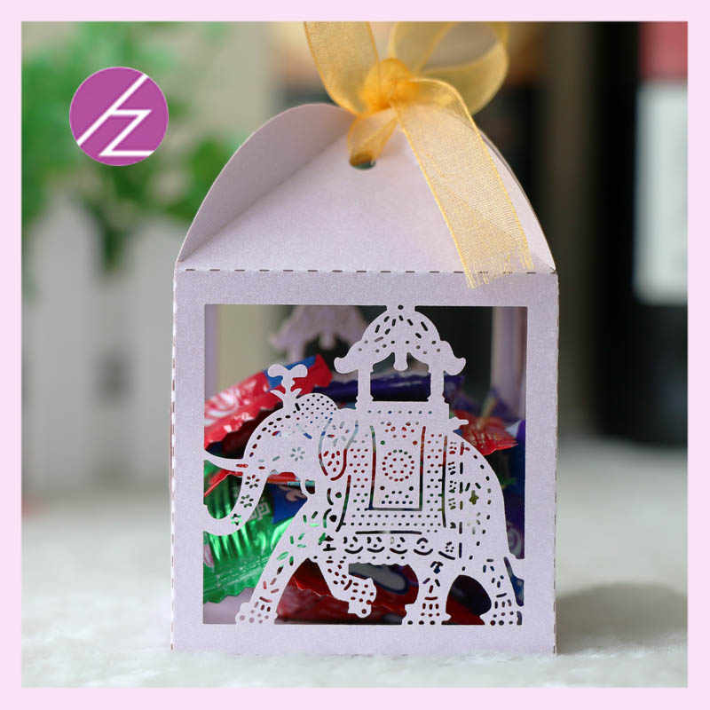 50pcs/lot hot sale laser cut pearl paper Gold Indian Style Elephant small box Wedding Party decorations Favor Gift Chocolate box