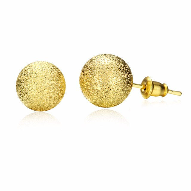 d7ac2a792 Yellow Gold Color Round Ball Stud Earrings for Women Fashion Jewelry 6mm  /8mm/10mm/12mm Buddha Earrings Female Wedding Accessory