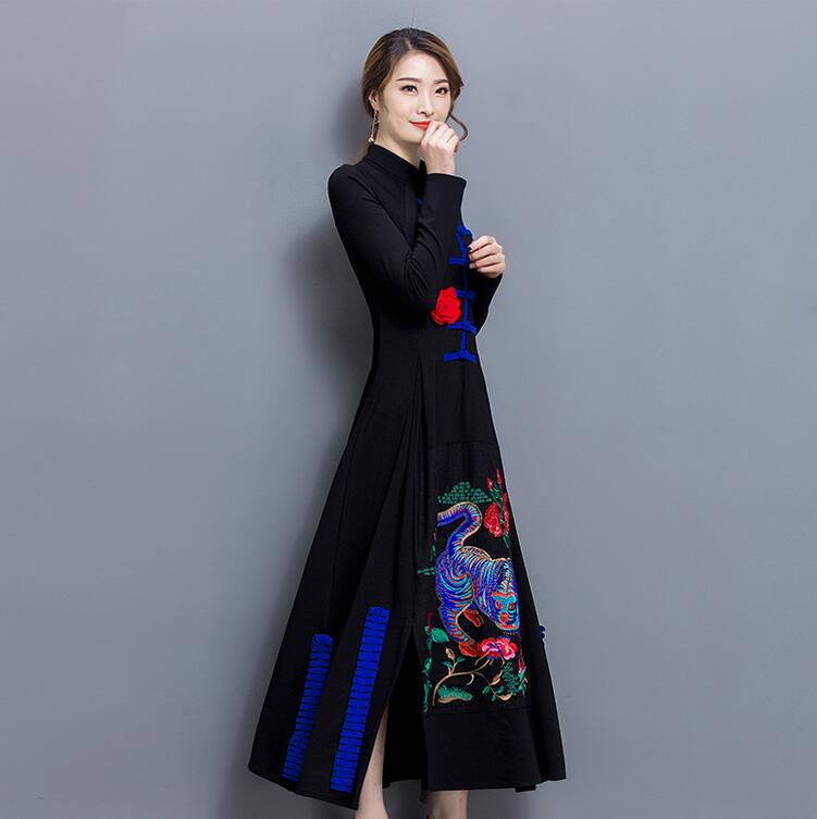 Chinese Women  Hanfu  Handicraft Embroidery Summer Women Black Long Sleeve Spring  Folk Style Cotton Long Dress