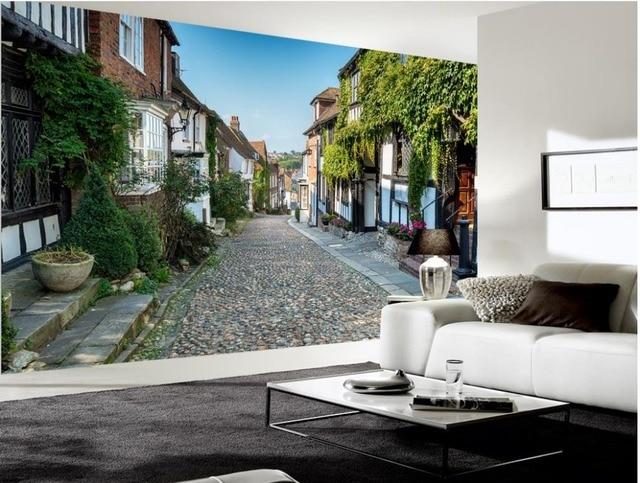 Moderne woonkamer wallpapers europese italiaanse straat stad van