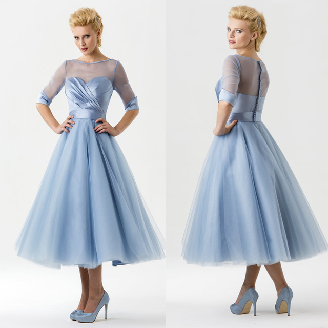 82d50a159d HD0006 Charming Color Scoop Neck Ruffle Tulle Half Sleeves Homecoming  Dresses Tea Length Sky Blue Formal
