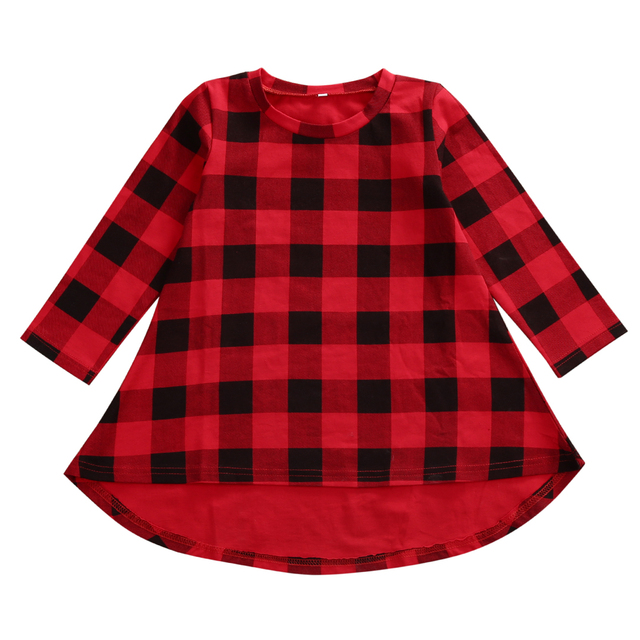 Casual Baby Girls Red Plaid Dress Kids Checked Party Princess Formal