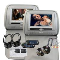 7 LCD Dual Twin Screens Car Headrest Pillow Monitors DVD Player 32 Bit Games With Built