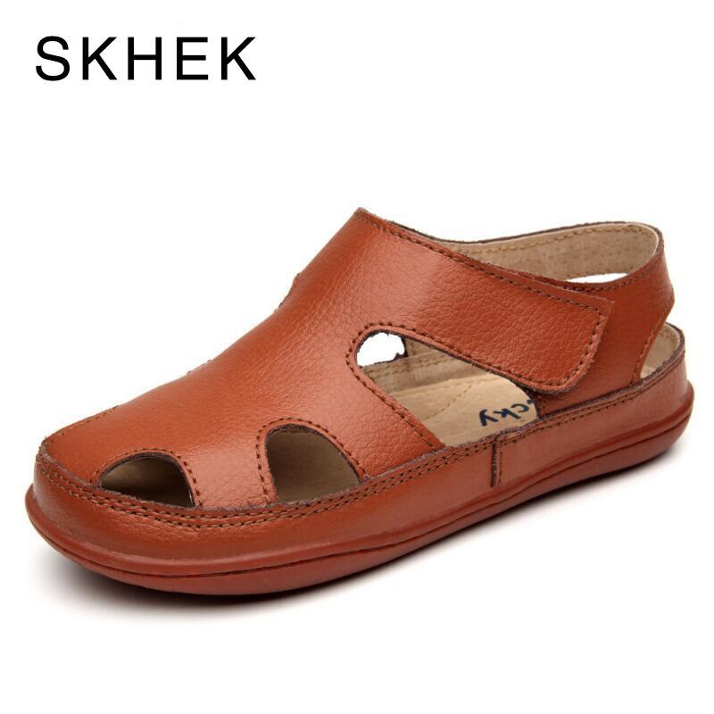 SKHEK Summer Children Boys Girls Sandals Toe Cap Genuine Leather Kids Sandals Textile Flag Casual Sport Sandals for Little Boys
