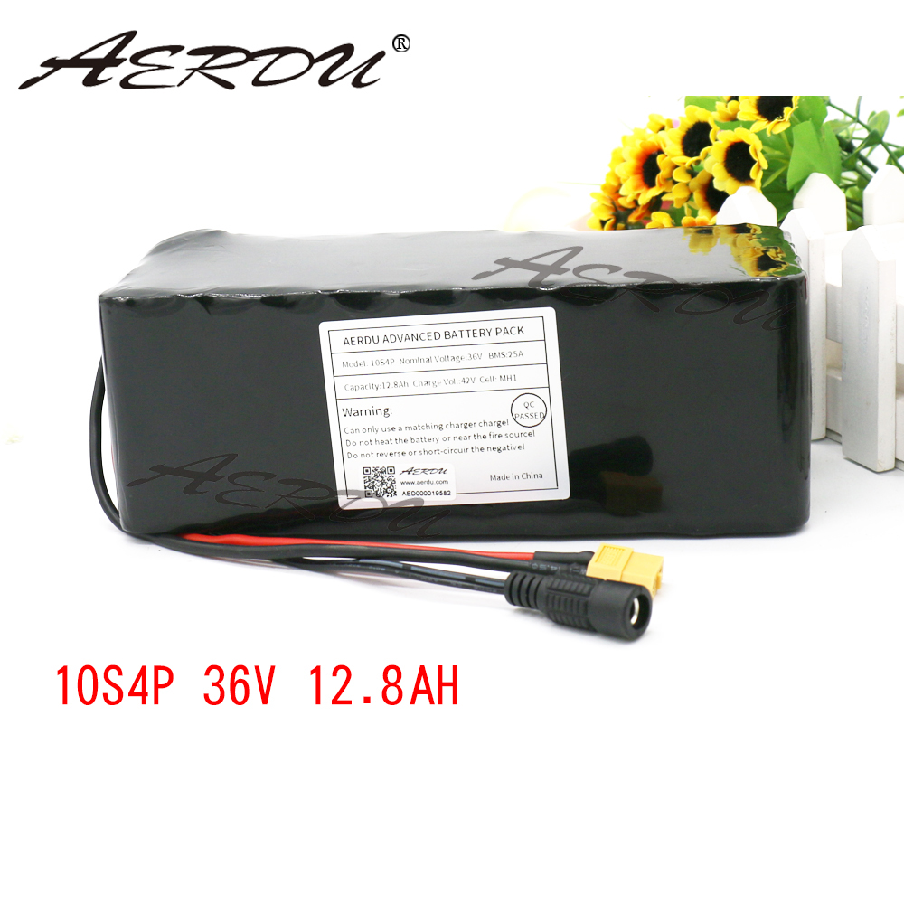 AERDU 36V 10S4P 12.8Ah 12Ah 13Ah For LG MH1 with 20A BMS 600w 42V lithium battery pack ebike electric car bicycle motor scooter