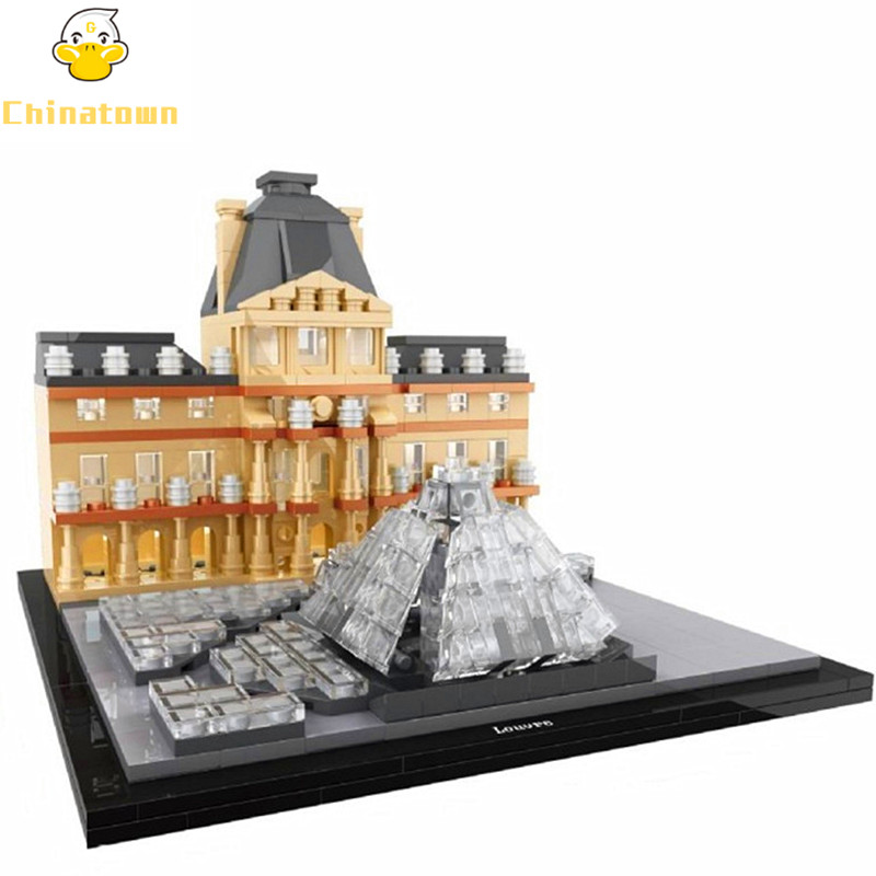 HSANHE Architecture New York Louvre World Famous City Model Building Blocks Sets Bricks Classic Kids Toys Compatible Legoings aiboully city 7014 7017 model the louvre in paris rome fontana di trevi building blocks sets bricks toys compatible with gift