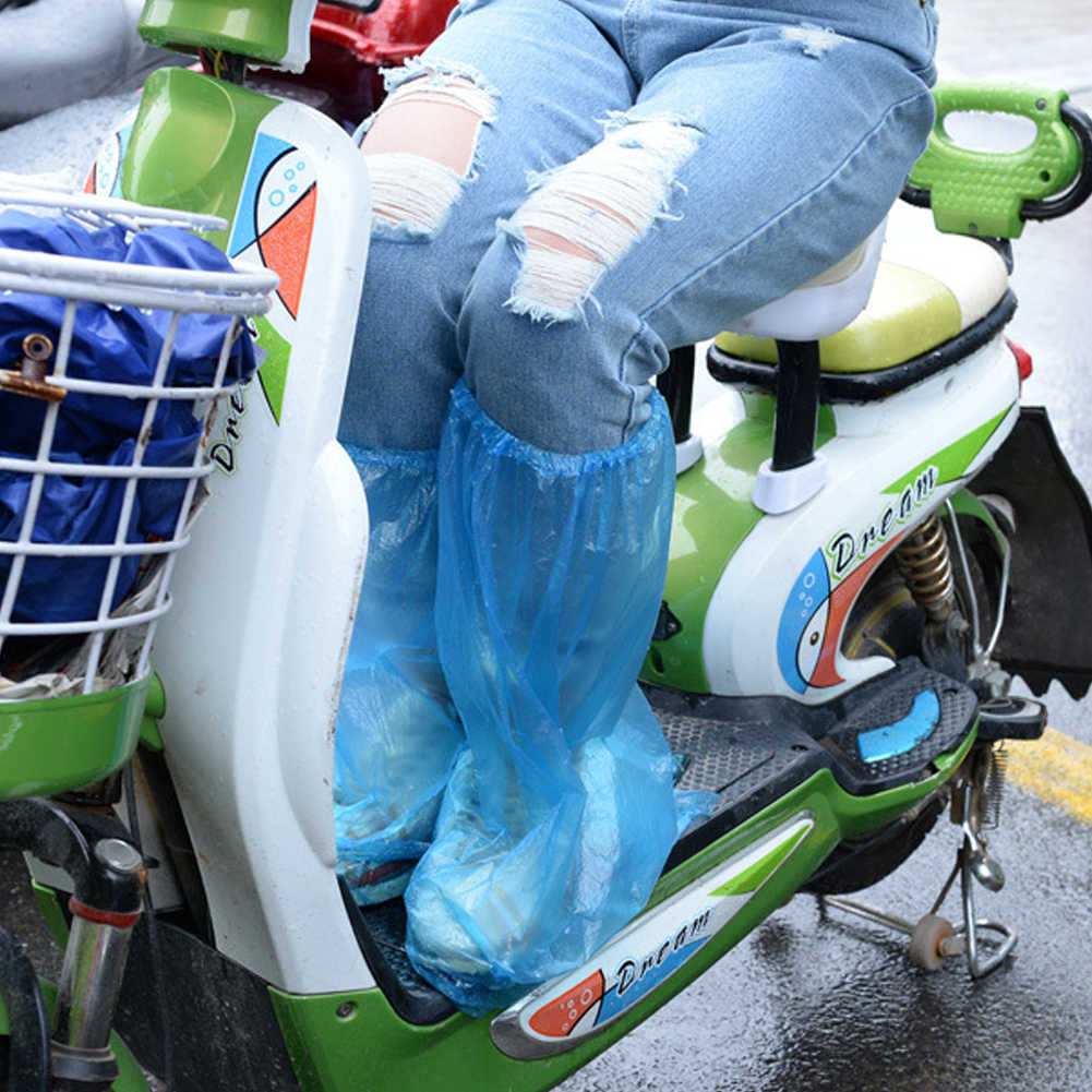 2019 جديد 5 أزواج للماء سميكة البلاستيك المتاح أغطية لحذاء المطر النساء/الرجال/الأطفال عالية أعلى شقة الانزلاق مقاومة الجرموق