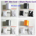 50 meters/lot  1.5mm Nylon Satin Cord and Plastic Breakaway Safty Clasps  for DIY Silicone Baby Teething beads necklace