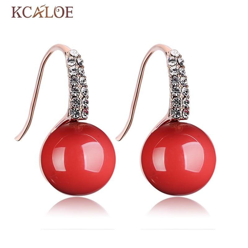 KCALOE Red Earrings Round Ball Natural Big Simulated Coral Rose Gold Color Cubic Zirconia Crystal Bride Drops Earrings Joya Rubi