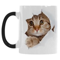 Cute Cat Mug Morphing Coffee Mugs Heat Changing Color Hot Reactive Sensitive Porcelain Black White Ceramic
