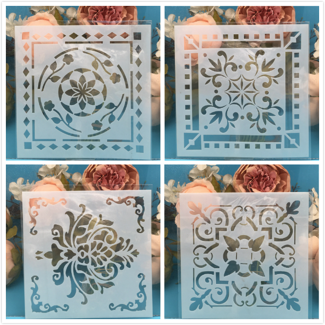 4Pcs/Lot 15cm Leaf Square DIY Craft Layering Stencils Wall Painting Scrapbooking Stamping Embossing Album Paper Card Template