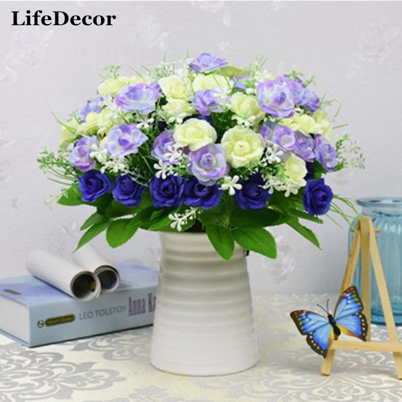 Artificial flowers 15 heads simulation silk rose flower for Artificial flowers decoration home