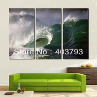 3 pannelli sea wave Olio pittura moder moda pittura a olio su tela wall art decorazione domestica