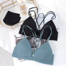 Roseheart Women Fashion Black One-Piece Bra Sets Cross Back Straps Bralette Cotton Panties Wireless Underwear Lingerie Cup A B