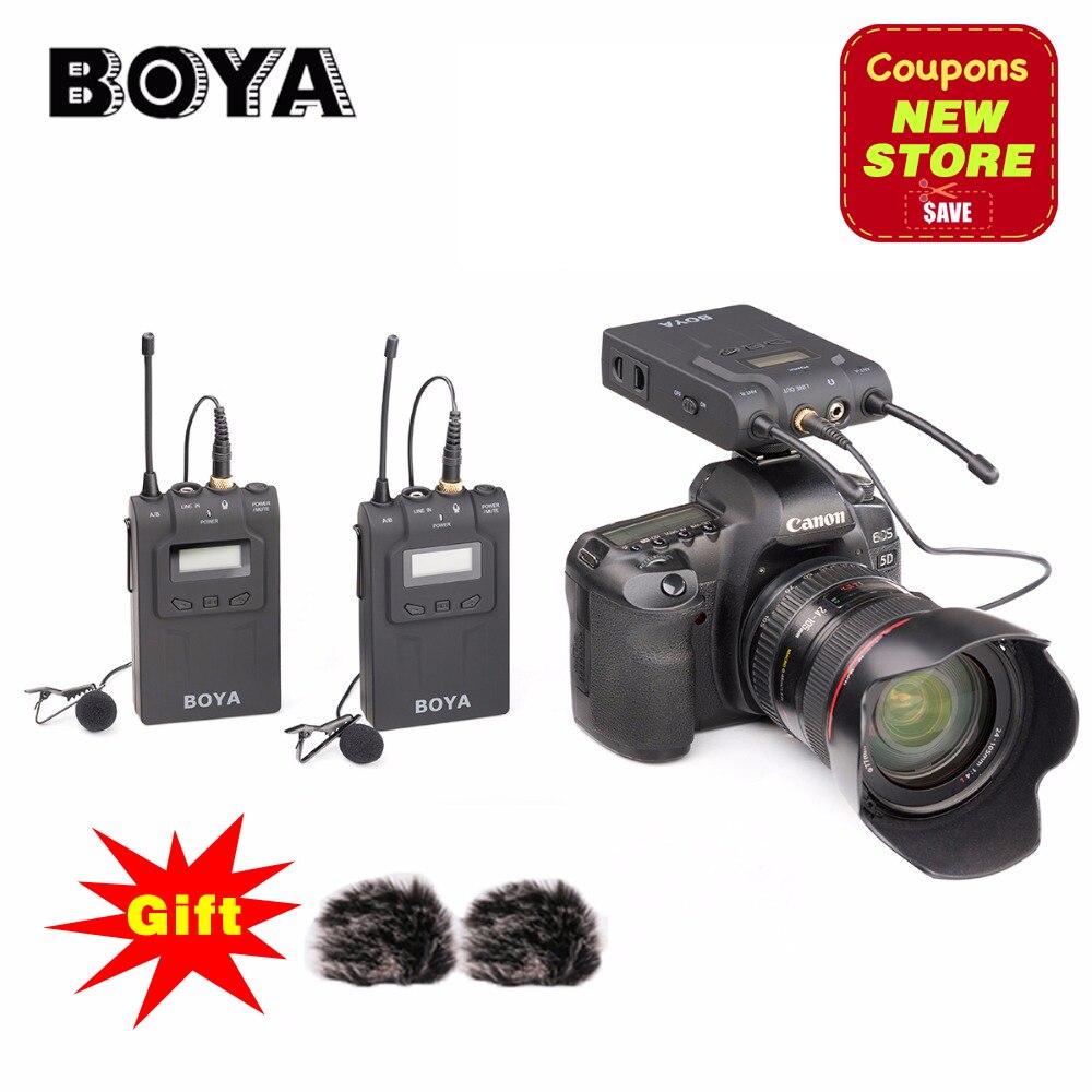 BOYA BY-WM8 UHF double système de Microphone de Lavalier sans fil Lav Interview Mic 2 émetteurs et 1 récepteur pour caméra vidéo DSLR
