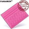 Guaranteed 100% Sheepskin Luxury Genuine Leather Ultra-thin Design Weave Pattern Women Card Holder Slim Female ID Card Pack Case