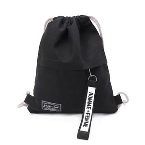 Hot Sale Cinch Sack Canvas Storage School Gym Drawstring Bag Pack Rucksack Backpack Pouch(China)