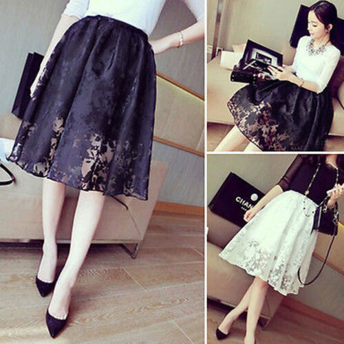 NEW Women Double Layer CHIFFON Pleated Retro Mini Black Skirts Elastic Waist Skirt