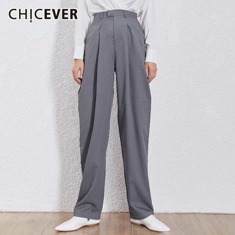 CHICEVER Korean Solid Women Trousers High Waist Zipper Button Pockets Big Size Straight Pants Female Fashion 2019 Summer Tide