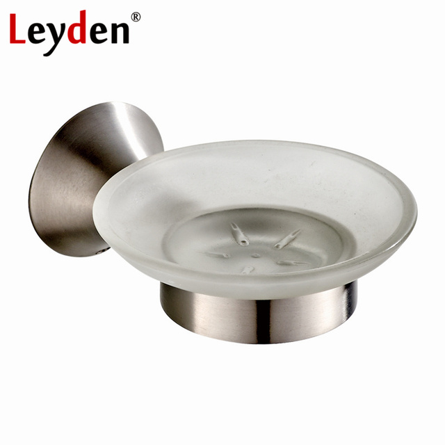 Leyden Stainless Steel Soap Dish Brushed Nickel Soap Dish Glass Wall