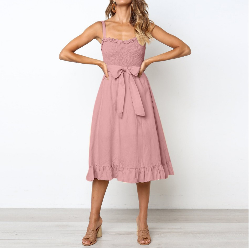 Cuerly Elegant ruffle pleated women cotton dress Ruched high waist summer dress pink Spaghetti strap female midi dress vestidos in Dresses from Women 39 s Clothing