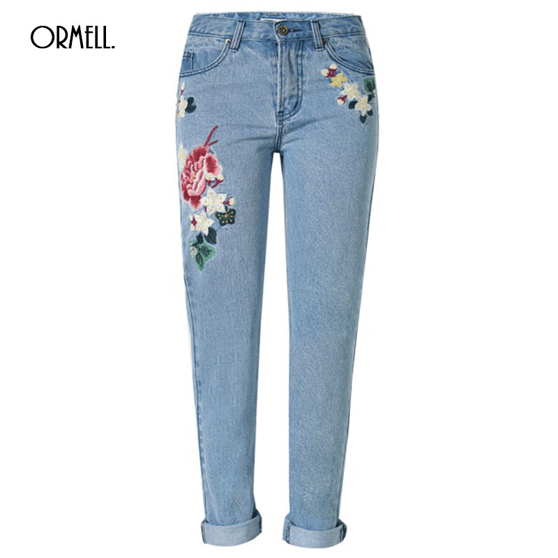 ORMELL 3D Floral Embroidery Denim Jeans Female Spring Zipper Straight Pants Women Fashion Pocket Light Blue Trousers Jeans flower embroidery jeans female blue casual pants capris 2017 spring summer pockets straight jeans women bottom a46