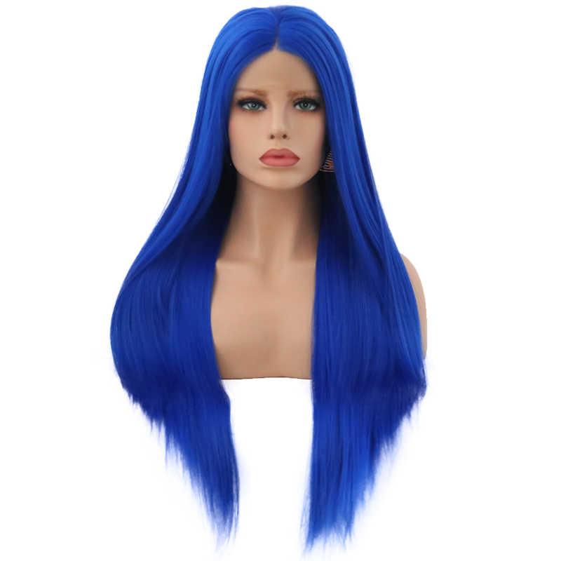 Peluca sintética de pelo largo liso carisma con malla frontal, resistente al calor, peluca azul, pelucas sin pegamento para mujeres negras