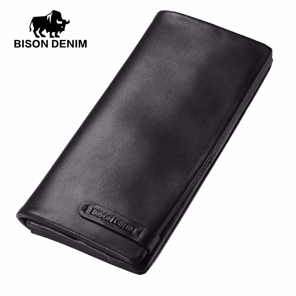 BISON DENIM Male Cowhide Leather Long Wallet Slim Black Genuine Leather Mens Wallets ID Card Holder Dollars Thin Purse N4329-1B mens wallets black cowhide real genuine leather wallet bifold clutch coin short purse pouch id card dollar holder for gift