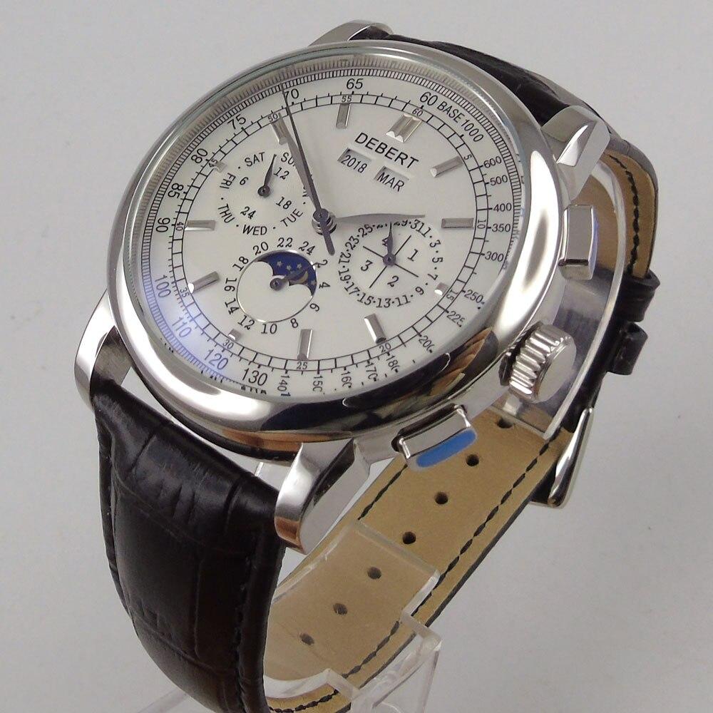 42 ملليمتر debert الأسود الأبيض dial اليوم تاريخ حزام أسود أوتوماتيكي متعدد الوظائف رجل ووتش-في الساعات الميكانيكية من ساعات اليد على  مجموعة 1