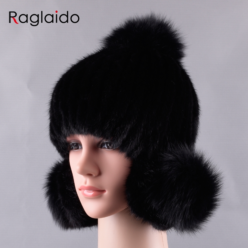 7cc8459936d16 Raglaido Pompom Mink Fur Hats Women Knitted Real Fur Trapper hat handsewing Genuine  Fur Beanies fox fur ear hats LQ11235
