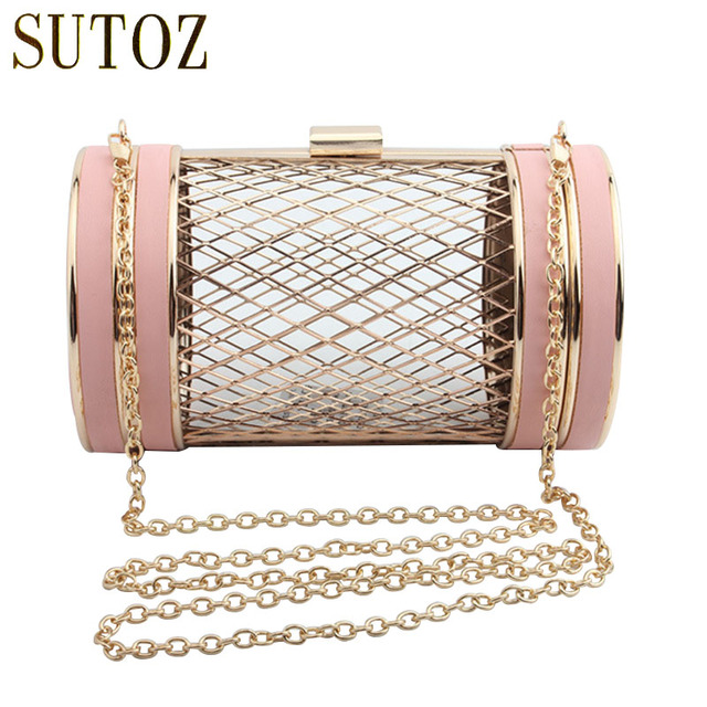 2b9b879778 Brand Designer Hollow Clutch Bag Cylinder Cage Metallic Evening Bags for  Women Hollow Out Wallet Crossbody Evening Party Bags
