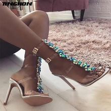 TINGHON New Summer sandals women Buckle Strap Luxurious Blue Crystal Chain Transparent PVC High Heel OpenToe Sexy Sandals Shoes 2017 women high heel sandals sexy crystal transparent women shoes fish head high platform 14cm19cm shoes sandals buckle style
