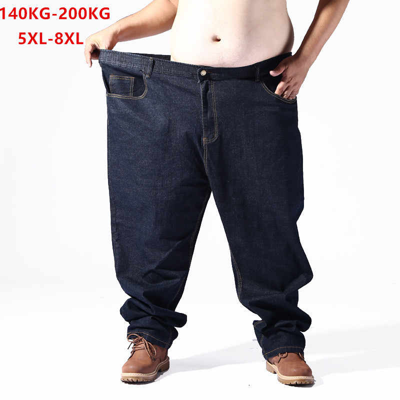 Plus Big Size Black Jeans Men 5XL 6XL 7XL 8XL 54 56 58 59 60 200KG Elastic Denim Trousers Mens Jean Brand 2019 Pants Man Clothes