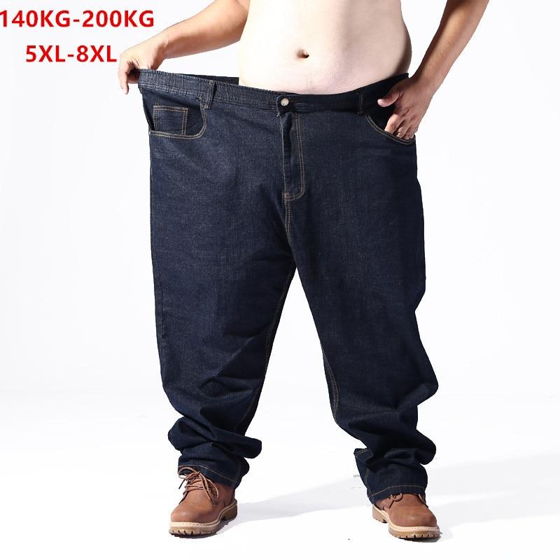 Plus Big Size Black Jeans Men 5XL 6XL 7XL 8XL 54 56 58 59 60 200KG Elastic Denim Trousers Mens Jean Brand 2019 Pants Man Clothes