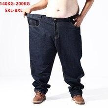 Plus duży rozmiar czarne dżinsy mężczyźni 5XL 6XL 7XL 8XL 54 56 58 59 60 200KG elastyczne spodnie dżinsowe mężczyzna Jean marki 2019 spodnie męskie ubrania