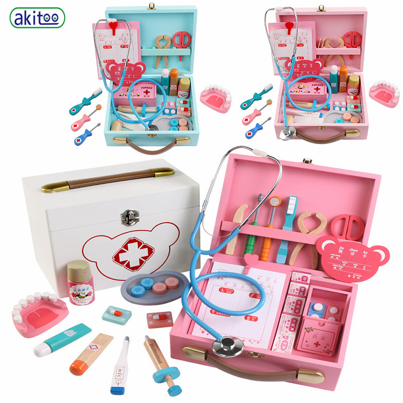 Akitoo Blue Pink Medicine Box Big Wooden Child Play House Doctor Toy Game Nurse Service Role Playing Drip Stand #3203