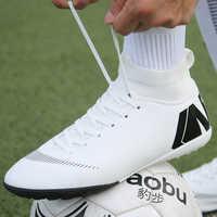 Offre spéciale crampons de Football pour hommes de haute cheville chaussures chaussures de Football longues pointes en plein air Football Traing bottes pour hommes femmes chaussures de Football
