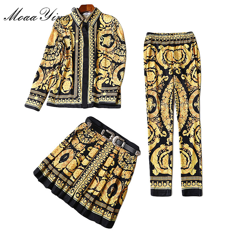 MoaaYina Fashion Designer Runway Set Spring Women Long Sleeve Print Palace Belt Half Skirt Retro Slim Shirt+Pencil Pants 3 Sets