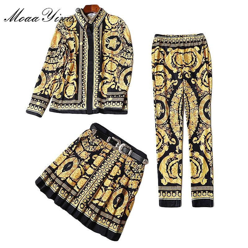 MoaaYina Fashion Designer Runway Set Lente Vrouwen Lange mouw Print Palace Riem Half rok Retro Slim shirt + Potlood broek 3 sets-in Sets voor dames van Dames Kleding op  Groep 1