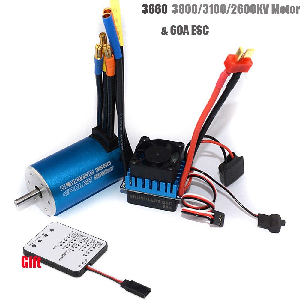 RC 3660 3800KV 3100KV 2600KV Sensorless Brushless Motor With 60A ESC & LED Programming Card For 1/10 RC Rally Car