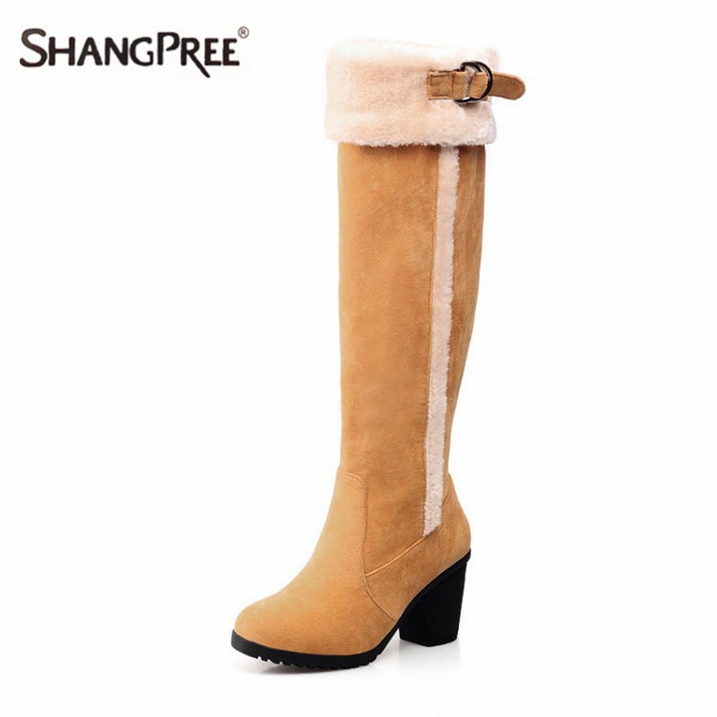 2017 Hot Suede Slim Boots Sexy Knee-High heel women snow boots women's fashion winter high heel boots Inside thick plush shoes ppnu woman winter nubuck genuine leather over the knee snow boots women fashion womens suede thigh high boots ladies shoes flats