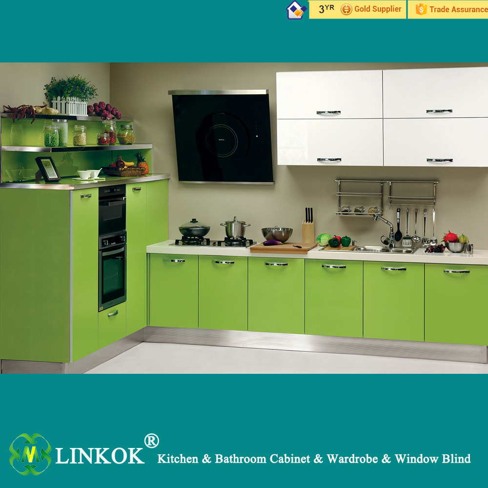 Linkok Furniture High glossy European style wooden kitchen cabinets modern kitchen cabinets for sale