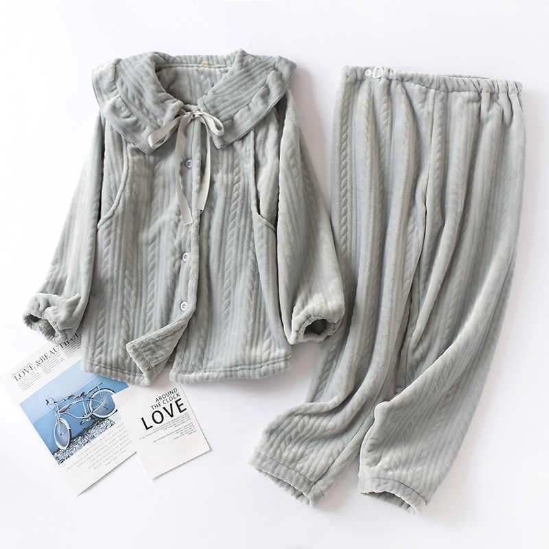 Mùa xuân và Thu Đêm Pyjamas Cotton Bộ Đồ Ngủ Nữ Pijama Phòng Chờ Quần Áo Lót Đồ Ngủ Hồng Nightsuit Bộ Fdfklak