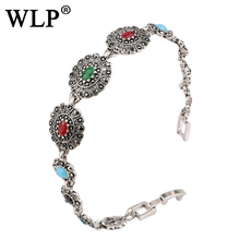 WLP 2017 Fashion New Fashion Indian Jewelry Rose Gold Bracelet For Women Vintage Look Colorful Resin Oval  Bracelets W0014