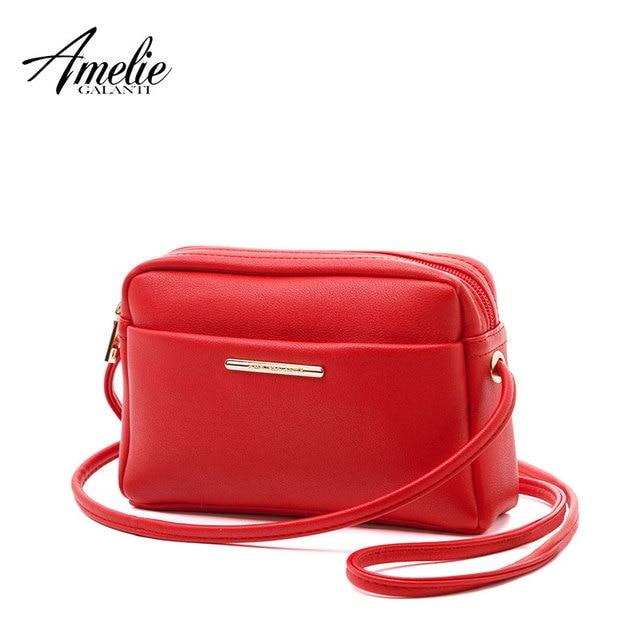 Petit sac à bandoulière à fermeture éclair AMELIE GALANTI Design simple sac à bandoulière pour femmes Mini pochette en cuir synthétique élégant