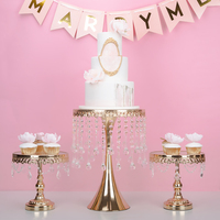 crystal gold & silver high cake stand sets cake tray wedding dessert table decoration cake table fruit plate