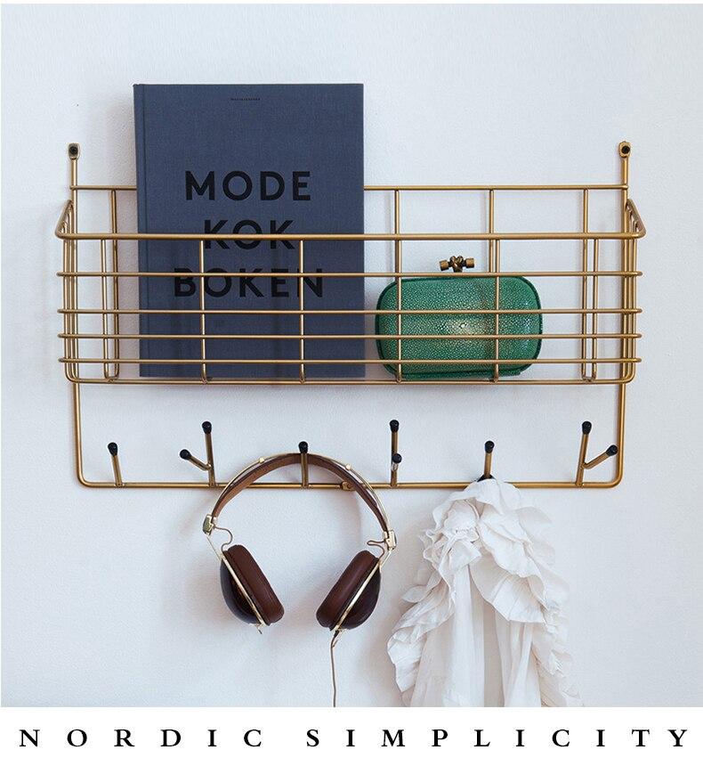 Nordic minimalist modern bedroom soft iron storage rack hanging clothes rack multifunctional wall hook rack.