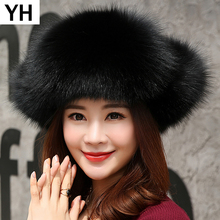Russia 2019 Natural Real Fox Fur Hat Winter Warm Women 100 Real Fox Fur Cap Quality Real Fox Fur Caps Real Fox Fur Bomber Hats cheap Adult Solid hat-9230 adjustable suitable for everyone 100 real natural fox fur
