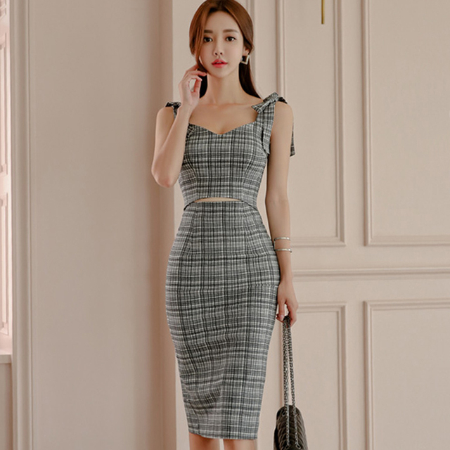 0c4be1a06 2018 Summer Sleeveless Strap Vestidos Bowknot Grey Plaid Crop Bodycon  Pencil Knee-Length Sexy Club Dress